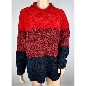 Carolyn Taylor Red Oversized Chenille Sweater